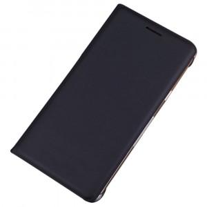 Глянцевый водоотталкивающий чехол флип на пластиковой основе с отсеком для карт для Samsung Galaxy J1 (2016) Черный
