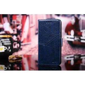 Винтажный чехол портмоне подставка на силиконовой основе с отсеком для карт на магнитной защелке и текстурным покрытием Линии для Alcatel 3 Синий