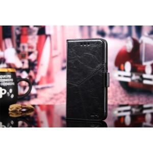 Винтажный чехол портмоне подставка на силиконовой основе с отсеком для карт на магнитной защелке и текстурным покрытием Линии для Alcatel 3 Черный