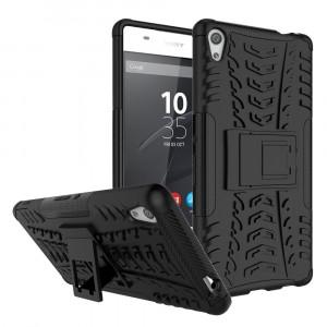 Противоударный двухкомпонентный силиконовый матовый непрозрачный чехол с поликарбонатными вставками экстрим защиты с встроенной ножкой-подставкой и текстурным покрытием Шина для Sony Xperia XA Ultra Черный