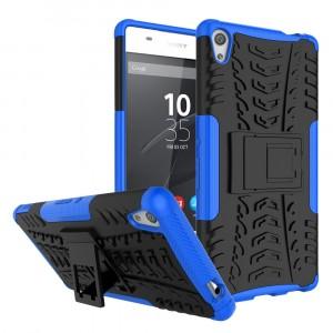 Противоударный двухкомпонентный силиконовый матовый непрозрачный чехол с поликарбонатными вставками экстрим защиты с встроенной ножкой-подставкой и текстурным покрытием Шина для Sony Xperia XA Ultra Синий
