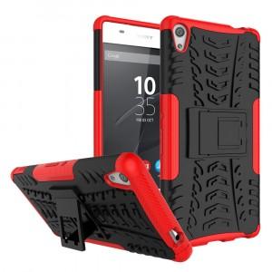 Противоударный двухкомпонентный силиконовый матовый непрозрачный чехол с поликарбонатными вставками экстрим защиты с встроенной ножкой-подставкой и текстурным покрытием Шина для Sony Xperia XA Ultra Красный