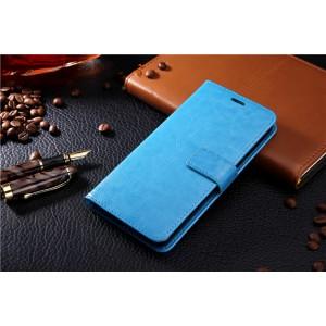 Глянцевый водоотталкивающий чехол портмоне подставка на силиконовой основе с отсеком для карт на магнитной защелке для Samsung Galaxy S6 Голубой