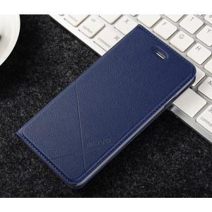Чехол флип подставка текстура Линии на пластиковой основе с отсеком для карт для Iphone 6/6s Синий