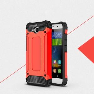 Двухкомпонентный силиконовый матовый непрозрачный чехол с поликарбонатными бампером и крышкой для Huawei Honor 4C Pro Красный