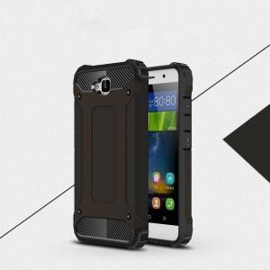 Двухкомпонентный силиконовый матовый непрозрачный чехол с поликарбонатными бампером и крышкой для Huawei Honor 4C Pro Черный