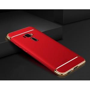 Двухкомпонентный сборный двухцветный пластиковый матовый чехол для Asus ZenFone 3 Красный