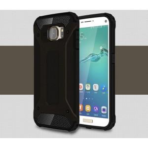 Противоударный двухкомпонентный силиконовый матовый непрозрачный чехол с поликарбонатными вставками экстрим защиты для Samsung Galaxy S7 Edge Черный