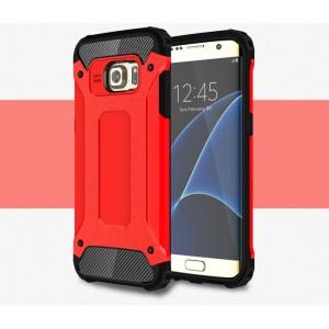 Противоударный двухкомпонентный силиконовый матовый непрозрачный чехол с поликарбонатными вставками экстрим защиты для Samsung Galaxy S7 Edge Красный