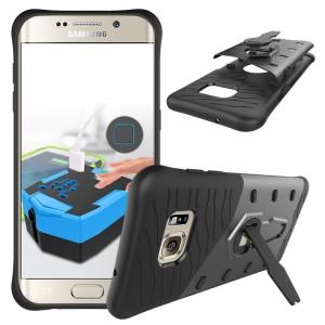 Противоударный двухкомпонентный силиконовый матовый непрозрачный чехол с поликарбонатными вставками экстрим защиты с встроенной ножкой-подставкой для Samsung Galaxy S7 Edge Черный