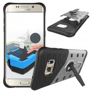 Противоударный двухкомпонентный силиконовый матовый непрозрачный чехол с поликарбонатными вставками экстрим защиты с встроенной ножкой-подставкой для Samsung Galaxy S7 Edge Серый