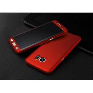 Двухкомпонентный сборный пластиковый матовый чехол для Samsung Galaxy S7 Edge Красный