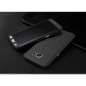 Двухкомпонентный сборный пластиковый матовый чехол для Samsung Galaxy S7 Edge Черный