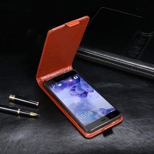 Глянцевый водоотталкивающий чехол вертикальная книжка на силиконовой основе на магнитной защелке для HTC U Play