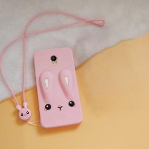 Силиконовый матовый непрозрачный дизайнерский фигурный чехол для Meizu M5 Розовый