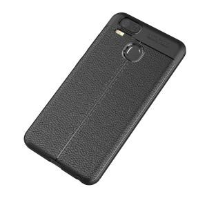 Силиконовый матовый непрозрачный чехол с текстурным покрытием Кожа для Asus ZenFone 3 Zoom Черный