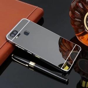 Двухкомпонентный чехол c металлическим бампером с поликарбонатной накладкой и зеркальным покрытием для Asus ZenFone 3 Zoom Черный