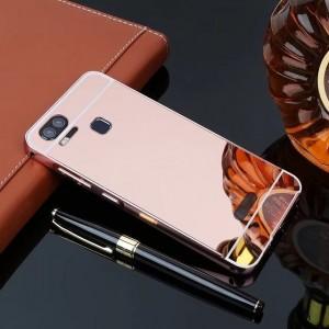 Двухкомпонентный чехол c металлическим бампером с поликарбонатной накладкой и зеркальным покрытием для Asus ZenFone 3 Zoom Розовый