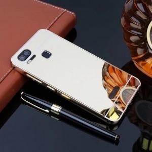 Двухкомпонентный чехол c металлическим бампером с поликарбонатной накладкой и зеркальным покрытием для Asus ZenFone 3 Zoom Бежевый