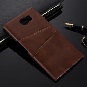 Чехол накладка текстурная отделка Кожа с отсеком для карт для Blackberry Priv Коричневый