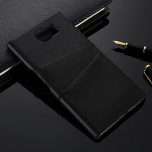 Чехол накладка текстурная отделка Кожа с отсеком для карт для Blackberry Priv Черный