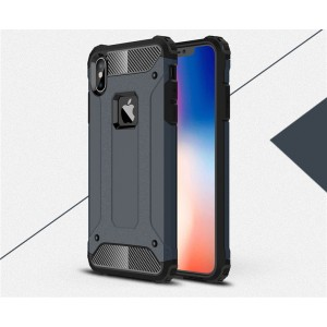 Противоударный двухкомпонентный силиконовый матовый непрозрачный чехол с поликарбонатными вставками экстрим защиты для Iphone x10/XS Синий