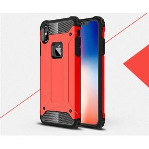 Противоударный двухкомпонентный силиконовый матовый непрозрачный чехол с поликарбонатными вставками экстрим защиты для Iphone x10/XS Красный