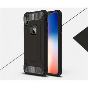 Противоударный двухкомпонентный силиконовый матовый непрозрачный чехол с поликарбонатными вставками экстрим защиты для Iphone x10/XS Черный
