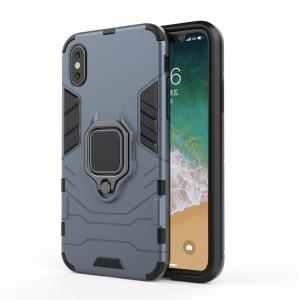 Противоударный двухкомпонентный силиконовый матовый непрозрачный чехол с поликарбонатными вставками экстрим защиты с встроенным кольцом-подставкой для Iphone x10/XS Серый