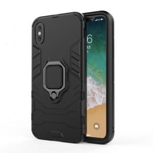 Противоударный двухкомпонентный силиконовый матовый непрозрачный чехол с поликарбонатными вставками экстрим защиты с встроенным кольцом-подставкой для Iphone x10/XS Черный