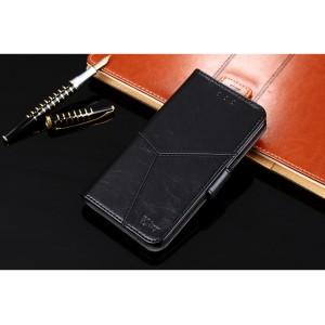 Винтажный чехол портмоне подставка на силиконовой основе с отсеком для карт на магнитной защелке для Alcatel 1C Черный