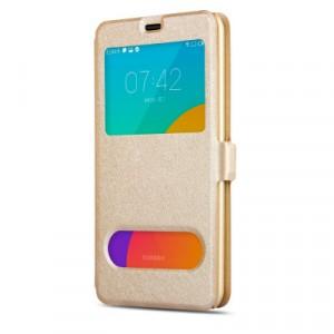 Чехол флип подставка текстура Золото на пластиковой основе с окном вызова и полоcой свайпа для Samsung Galaxy J1 (2016) Бежевый
