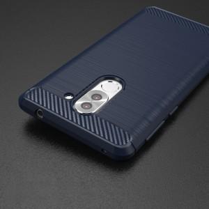 Силиконовый матовый непрозрачный чехол с текстурным покрытием Металлик для Huawei Honor 6X Синий