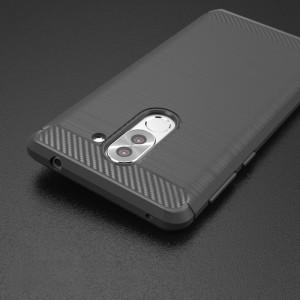 Силиконовый матовый непрозрачный чехол с текстурным покрытием Металлик для Huawei Honor 6X Серый