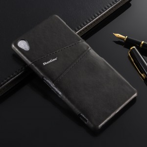 Чехол накладка текстурная отделка Кожа с отсеком для карт для Sony Xperia Z3 Черный