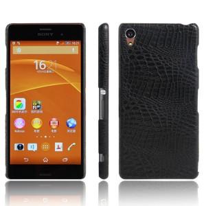 Пластиковый непрозрачный матовый чехол с текстурным покрытием Крокодил для Sony Xperia Z3 Черный