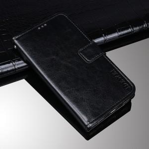 Глянцевый водоотталкивающий чехол портмоне подставка на силиконовой основе с отсеком для карт на магнитной защелке для ZTE Blade A910 Черный