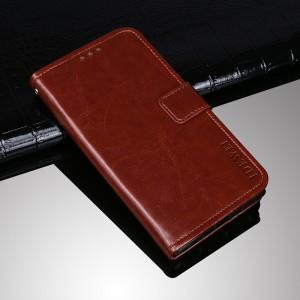 Глянцевый водоотталкивающий чехол портмоне подставка на силиконовой основе с отсеком для карт на магнитной защелке для ZTE Blade A910 Коричневый