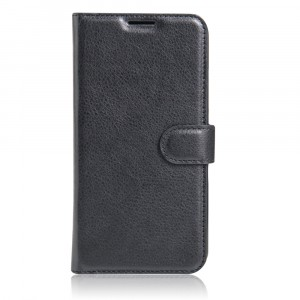 Чехол портмоне подставка на силиконовой основе с отсеком для карт на магнитной защелке для ZTE Blade A910 Черный