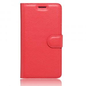Чехол портмоне подставка на силиконовой основе с отсеком для карт на магнитной защелке для ZTE Blade A910 Красный