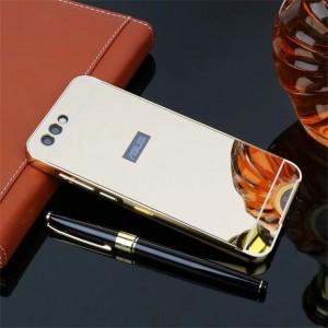 Двухкомпонентный чехол c металлическим бампером с поликарбонатной накладкой и зеркальным покрытием для ASUS ZenFone 4 ZE554KL Бежевый