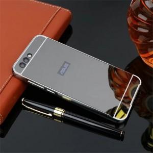 Двухкомпонентный чехол c металлическим бампером с поликарбонатной накладкой и зеркальным покрытием для ASUS ZenFone 4 ZE554KL Черный