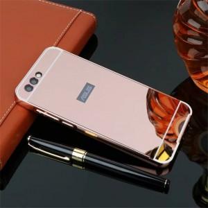 Двухкомпонентный чехол c металлическим бампером с поликарбонатной накладкой и зеркальным покрытием для ASUS ZenFone 4 ZE554KL Розовый