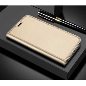 Глянцевый водоотталкивающий чехол флип подставка на силиконовой основе с отсеком для карт для ASUS ZenFone 5 Lite Бежевый