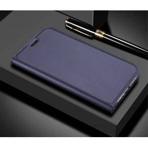 Глянцевый водоотталкивающий чехол флип подставка на силиконовой основе с отсеком для карт для ASUS ZenFone 5 Lite Синий
