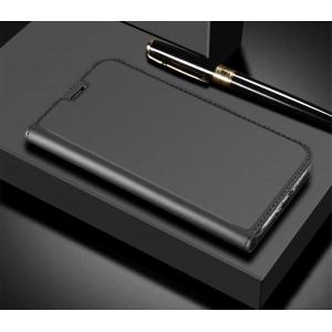 Глянцевый водоотталкивающий чехол флип подставка на силиконовой основе с отсеком для карт для ASUS ZenFone 5 Lite Черный