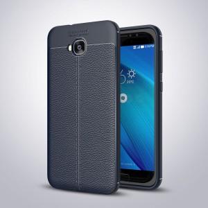 Силиконовый матовый непрозрачный чехол с текстурным покрытием Кожа для ASUS ZenFone 4 Selfie Синий