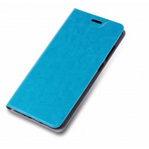 Глянцевый водоотталкивающий чехол флип подставка на силиконовой основе с отсеком для карт для ASUS ZenFone 4 Selfie Голубой