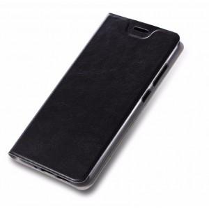 Глянцевый водоотталкивающий чехол флип подставка на силиконовой основе с отсеком для карт для ASUS ZenFone 4 Selfie Черный
