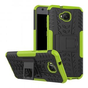 Противоударный двухкомпонентный силиконовый матовый непрозрачный чехол с поликарбонатными вставками экстрим защиты с встроенной ножкой-подставкой и текстурным покрытием Шина для ASUS ZenFone 4 Selfie Зеленый